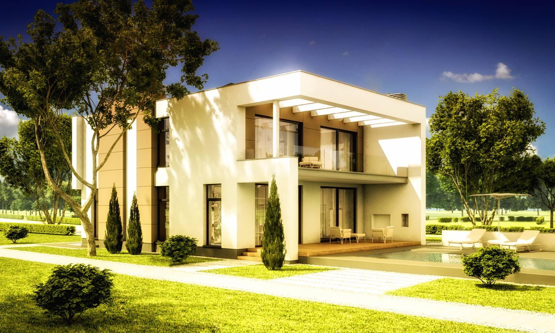 Modern villa in grazing land